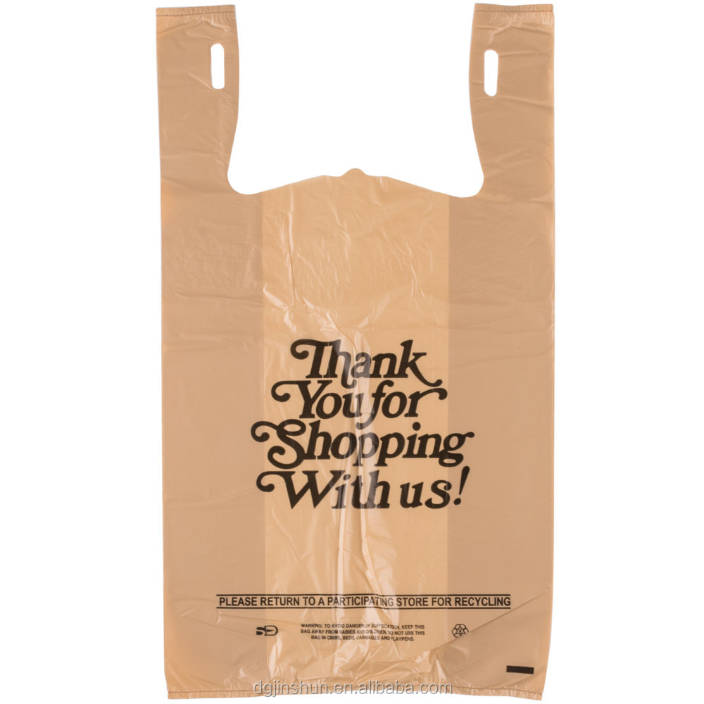 wholesale manufacturers 100% biodegradable plastic shopping takeaway t shirt bags