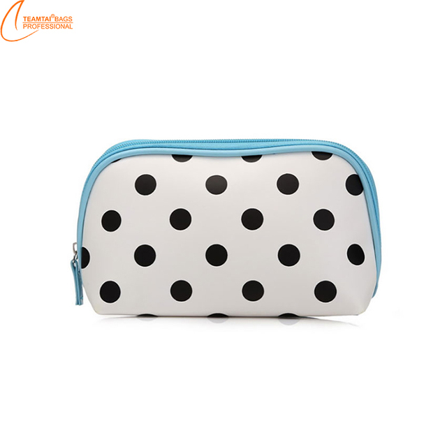 New blue with black spots women makeup bags multifunctional pu organizer cosmetic bags travel