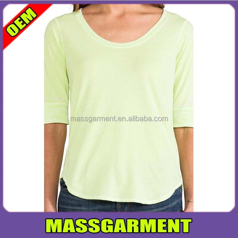 2015 fashion new design different types of t shirt for women.wholesale Curved Hem t shirt