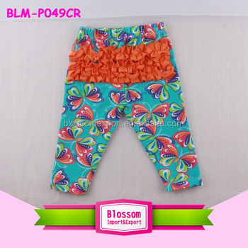 Wholesale Baby Girl Clothes Summer 2017 Floral Printed Soft Cotton Kids Tight Legging PP Ruffle Pants