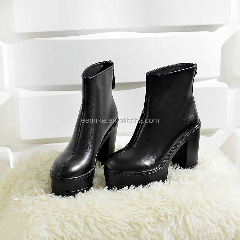 2016 Hot selling fur inside winter shoes block low heel comfortable platform boots with lace up