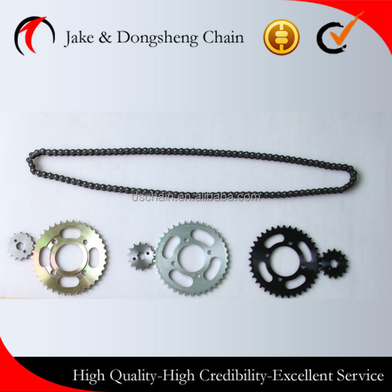 ZHEJIANG CHINA fine blanking sprocket 428/116L-38T/14T motor chain and bajaj discover/wave chain sprocket per set