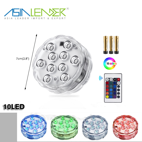 For Event Party and Home Decoration Battery Powered RGB Multi Color Changing Waterproof Remote Controlled LED Pool Lights