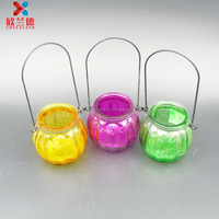 wholesale 200ml colorful hanging glass candle holder with iron hang