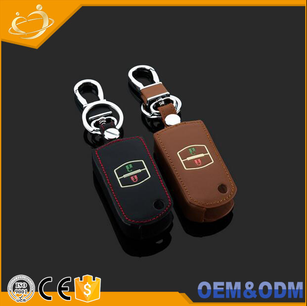 Luminous leather remote car key cover Flip Entry Key Fob Case for Mazda 2 3 5 6