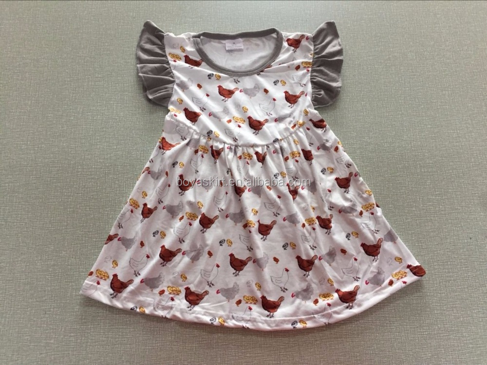 new design flutter sleeveless girls and chicken patterns beautiful summer dresses one piece new style