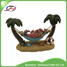 polyresin resin artificial bird flamingo swing on coconut tree statues figurines for outdoor garden decoration