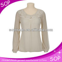 2013 OEM office chiffon blouse long sleeve blouse design