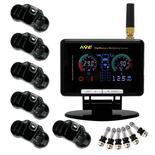 TPMS: AVE Color LCD TPMS for Car+Trailer/ Motorhome/ Camper / 4x4/ AVE-T1008P Tyre Pressure Monitoring System/Truck