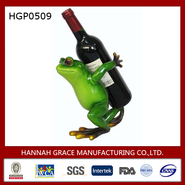 Lively Frog Resin Statue Wine Bottle Holder