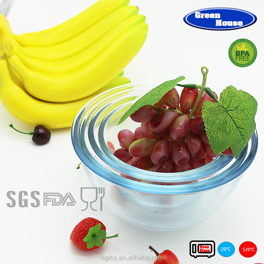 High borosilicate glass mixing bowl set with pp lid microwave oven salad bowl