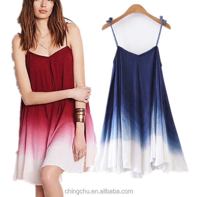 Girl's Sleeveless Dip Dye A -line Tunic Dress Fashion Beach Summer Woman Dress wholesale woman clothing