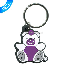 3D Raised emboss promotional keychains Rubber PVC key ring