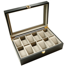 12 Slots Wood Watch Display Case Box Clear Top Jewelry Storage Organizer Holder