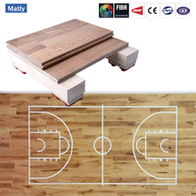 Solid indoor sports wood flooring for basketball / badminton court