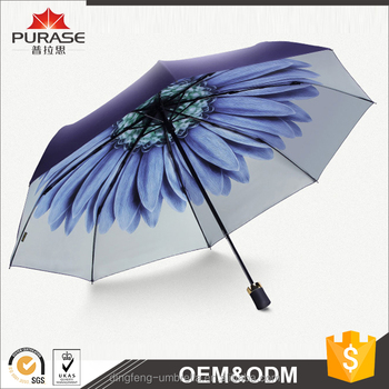 2017 hot sale 190T pongee fabric 21inch 8 ribs 3 folding umbrella for ladies