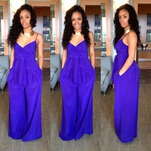 Casual Blue sleeveless adults nice jumpsuit 2016