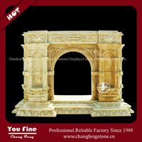 Indoor yellow antique natural marble fireplace