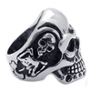 Wholesale Gothic Skull Ring, Men's Stainless Steel Jewelry Rings Gothic Skull Heads Punk Type Bands Width 31mm Silver