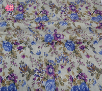 White Cotton Fabric with blue purple flroal printed fabric