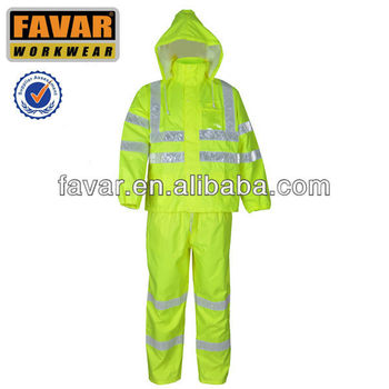 High Vis Oxford Rain Jackets Safety Weather Pretection Hooded Rain Pants Workwear Rain Suits