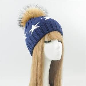 New Arrived High Quality Start Desgin Unisex Wool Winter Warm Custom Knitted Real Raccoon Fur Pom Pom Hat