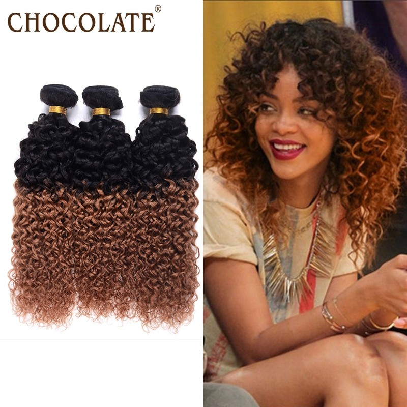 Brazilian Kinky Curly Ombre Hair 4 Bundles T1b30 Natural Black