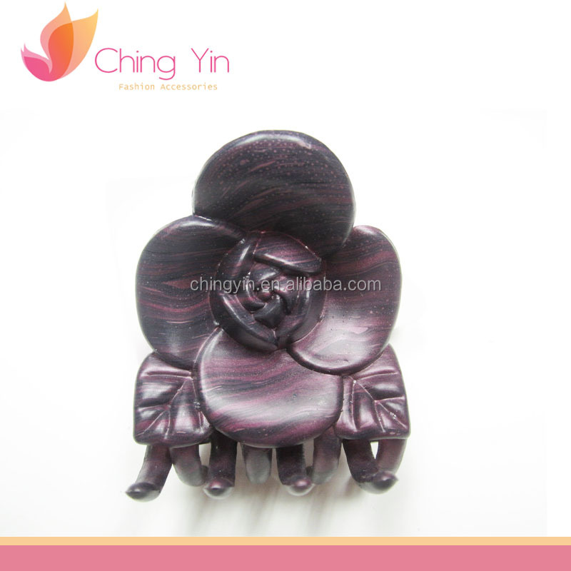 Chic Fashion Hair Accessories Wood Pattern Print Flower Shape Plastic Hair Claw Clip