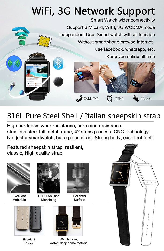 trending hot products cicret ansroid 3G system wifi wirst smart watch