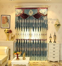 Custom curtain with modern european design for sitting room embroidery voile curtain fabric