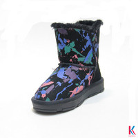 New design camouflage ankle snow child button boots for girls