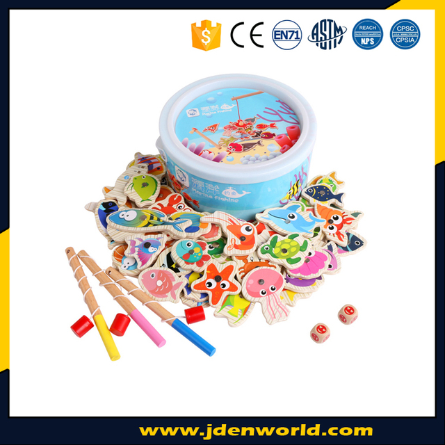 Good quality different kinds of fish funny fishing wooden toy