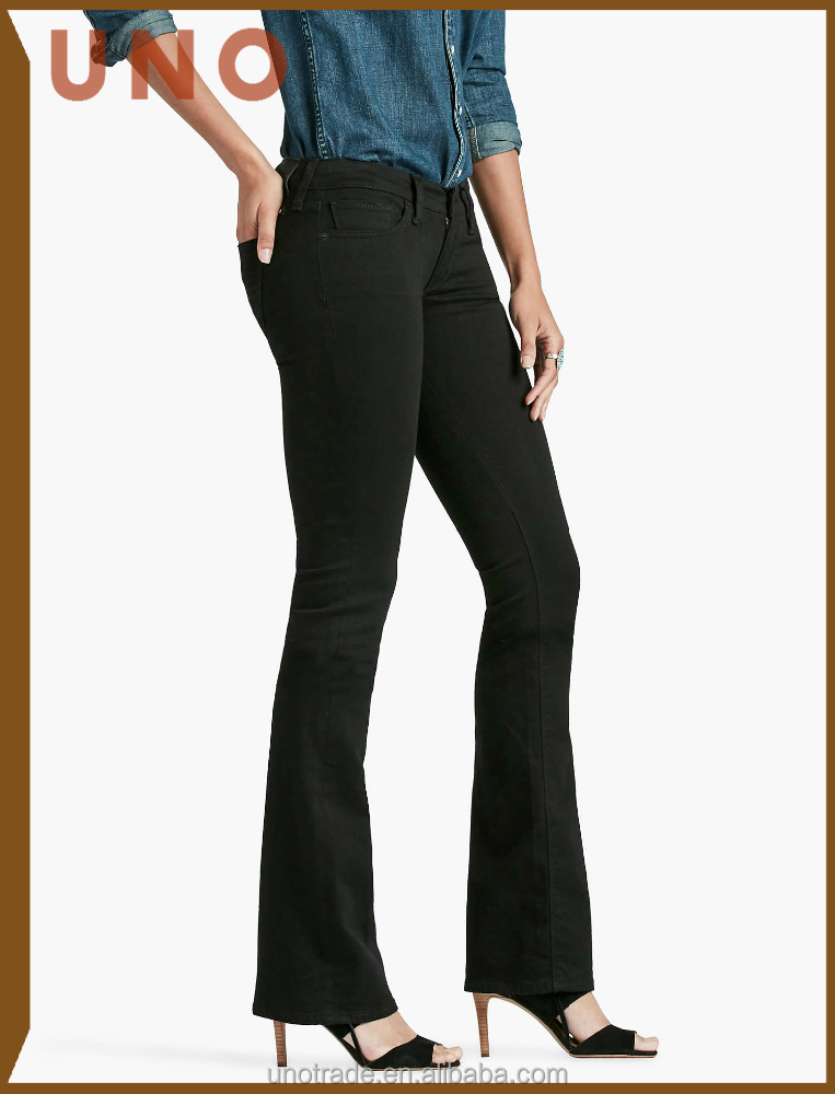 W0176 Lady Elegant Jeans Fashion Lead Best Flared Trousers Women Black Jeans Denim