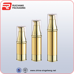 high quality 15ml 20ml 30ml gold airless pump bottle for cosmetic packaging