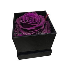 Wholesale single one hole square black acrylic waterproof preserved flower display flower box