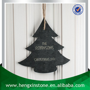 Handmade Personalised Laser Engrave Design 23*22*0.5cm Christmas Tree Shape Decorative Hanging Natural Slate Stone Crafts