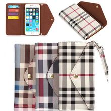 Plaid Pattern Flip Wallet PU Leather Case Cover For Apple iPhone 6 4.7 inch With Card Holder Handbag Phone Case