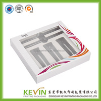 customized transparent plastice window paper packaging gift box with PVC tray