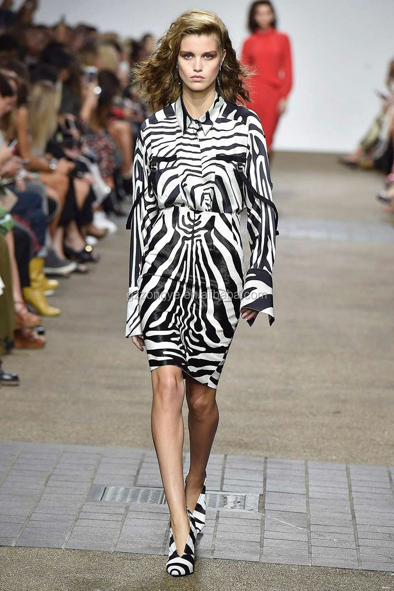 Hot sell in uk zebra print design skirts and blouse