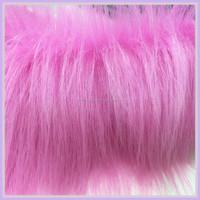 pink faux fur fabric long pile furs China manufacturer