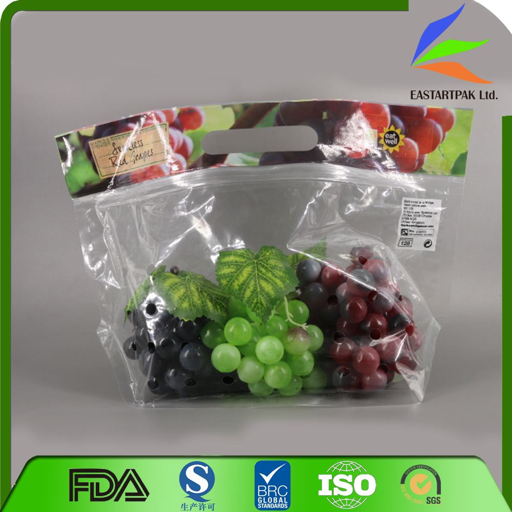 vegetable stock bag,v-shaped porforated plastic grape fruit, opp laminated custom print vented grape bag with slider zipper