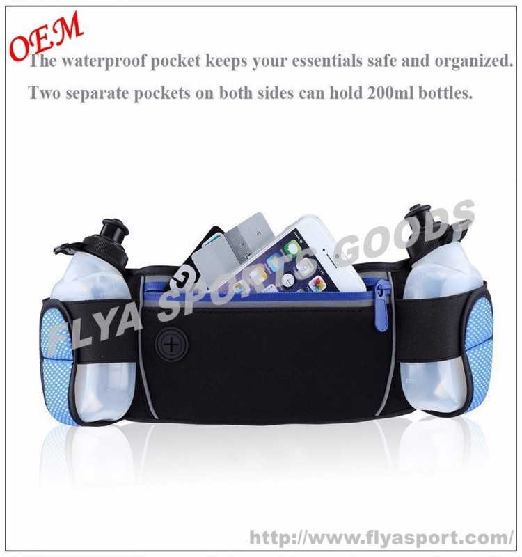 wholesale adjustable hydration running belt pack with water bottle