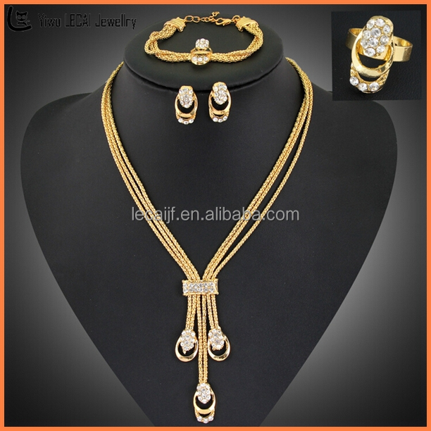 Hand Made 18K Gold Plated Necklace Earring Set Womens Gold Plated Stamped Jewelry Set