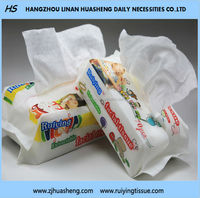 Degradable Baby Dry Tissue 100% cotton HS504 Extractible Pack Tissue Dry&Wet Use