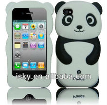 Panda Silicone Jelly Skin Case Cover for Apple iPhone 4/4S - Retail Packaging - Black