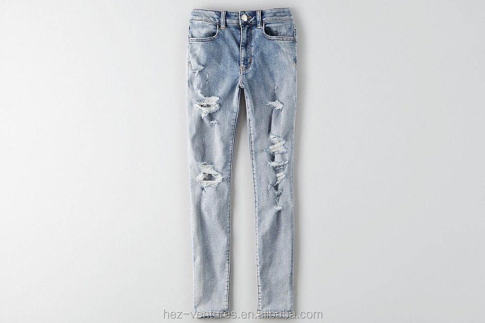 women High rise jegging silver blue destroy crop jeans for ladies OEM service