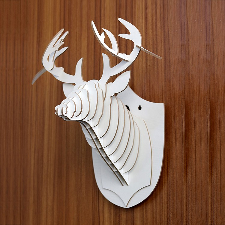 new DIY wall mounted wood carved deer head hanging