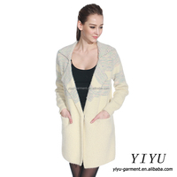 Warm brushed side pockets soft knit braid woolen design cardigan sweater for ladies