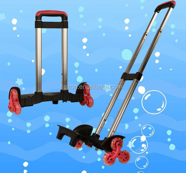 Detachable climb stair schoolbag trolley handle,Luggage parts retractable trolley handle,Telescopic pull handle with wheel