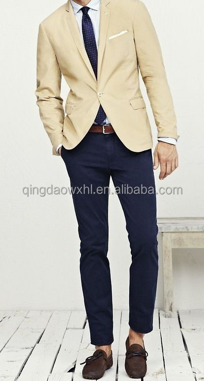 newest arrived high class casual slim notch lapel cream color custom men suit with single button